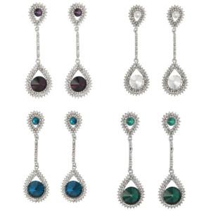 E-4249 4Colors Fashion  Diamond Long Crystal Drop Stud Dangle Rhinestone Earrings Party Jewelry