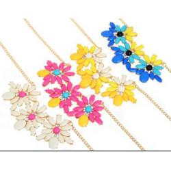 N-3932 European Gold Plated Short Resin Gem Rhinestone Flower Choker Necklace