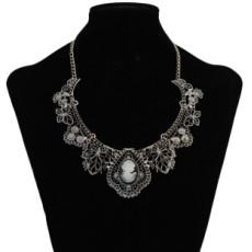 3 Colors Fashion Alloy Chain Statement Necklace Diamante Pendant Jewelry For Women