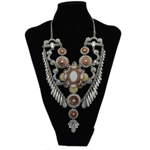 N-6913 Fashion Tassel Retro Chain Crystal Rhinestone Necklace for Women Accessories