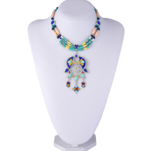 N-6914 New Fashion 2 Colors Bohemian Resin Stone Pendant Necklaces for Women Party Anniversary Jewelry Gift