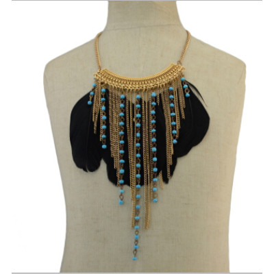 N-5505 Ethnic Jewelry Black Feather Long Tassel Beads Statement Pendant Necklaces for Women Bohemian