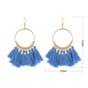 E-4254 * European fashion gold plated luxruy semilune colorful thread tassel cute earrings fashion jewelry