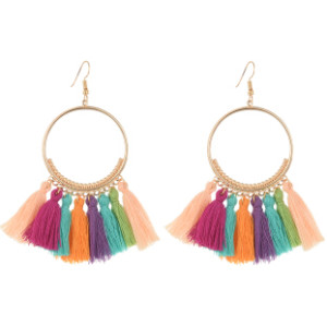 E-4254 European fashion gold plated luxruy semilune colorful thread tassel cute earrings fashion jewelry