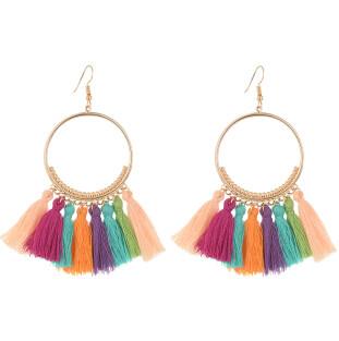 E-4254 European fashion gold plated luxruy semilune colorful thread tassel cute earrings fashion jewelry