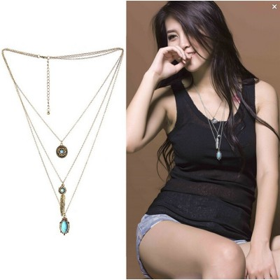 N-5573 New Fashion Bohemian style multilayer chain green pendant necklace statement Charm Jewelry
