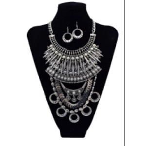 N-5593 2color Women Jewelry Sets Imitation Pearl Maxi Necklace Earring Set Boho Vintage Jewelry