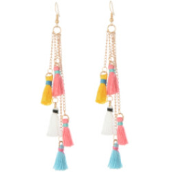E-4246 European gold plated colorful thread tassel cute earrings fashion jewelry