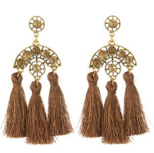 E-4250 Fashion 4 Colors Women Thread Tassel Crystal Drop Earrings Bohemian Wedding Party Jewelry Gift