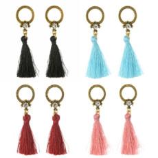 E-4251 4 Colors Fashion Bronze Alloy Diamante Ear Jewelry Thread Tassel Pendant Earrings For Women