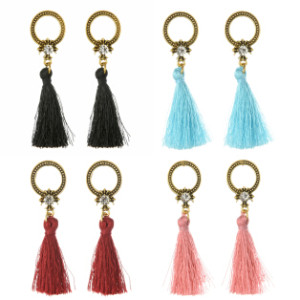 E-4251 4 Colors Fashion Bronze Alloy Diamante Ear Jewelry Thread Tassel Pendant Earrings For Women