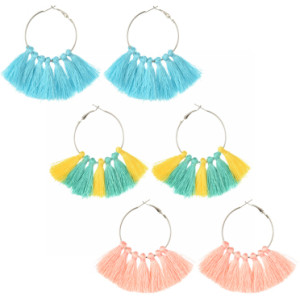 E-4248 Fashion 3 Colors Bohemian Fringe Tassel Fringe Hoop Earrings for Women Summer Party Jewely