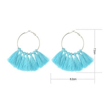 E-4248 Fashion 3 Colors Bohemian Fringe Tassel Fringe Hoop Earrings for Women Summer Party Jewely
