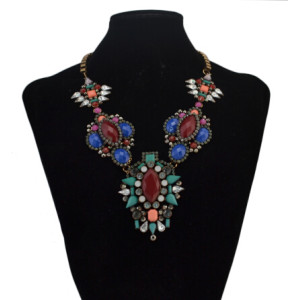N-5044 Vintage Colorful Rhinestone Pendant Statement Necklaces for Women Bohemian Party Jewelry