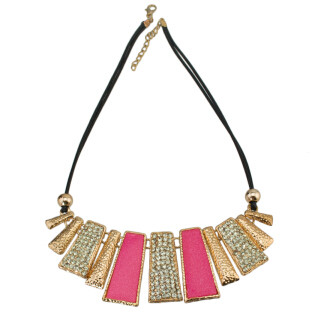 N-4271 2 Colors Vintage Leather Chain Rhinestone Pendant Natural Stone Necklace For Women