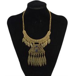 N-5555  Vintage Bohemian Pendant Tassel Turquoise Necklace for Women Accessories