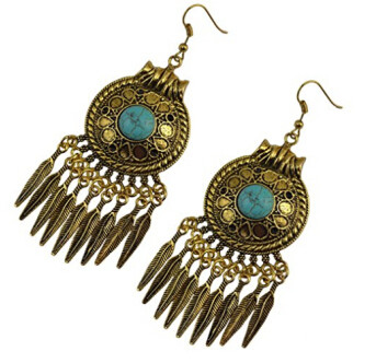 E-3756 Vintage Gold Metal Turquoise Stone Drop Earrings for Women Bohemian Party Anniversary Gift