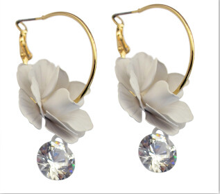 Fashion Alloy Brincos Gold Plated Charm Big Flower Crystal Shiny Hoop Earring