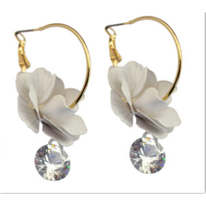 Fashion Alloy Brincos Gold Plated Charm Big Flower Crystal Shiny Hoop Earring