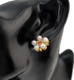 E-0522 Fashion Pearl Rhinestone Flower Stud Earring for women party jewelry