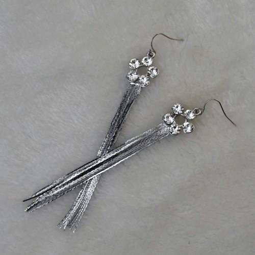 E-3486 New Vintage Diamante Rhinestone Long Tassel Earrings Flower Shape Drop Dangle Big Earrings Women Ears Jewelry
