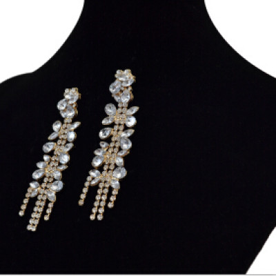 E-3744 Multi Color Clear Zircon Crystal Earrings For Women Bridal Gold Color Wedding Party Long Drop Earring Brincos