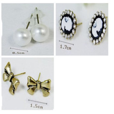 E-1550  3 Pairs/set  Bronze Bow-knot Beauty Girl Pearl Earring Ear Stud Set  E-1611 1pair Fashion Silver Plated Geometric Rhinestone Earring Ear Stud