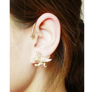 E-3614 1pcs Alloy Flying Horse Shape Ear Cuff Piercing Jewelry for Women