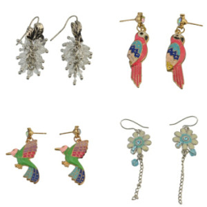 E-0544  E-0654  E-0666 E-0554  4style bird flower crystal tassel stud dangle earring