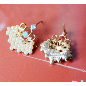 2 Style flower crystal tassel stud dangle earrings For Women Charm Party gift