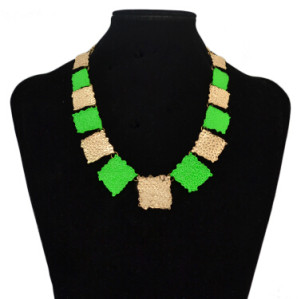 N-4859 2 Colors Fashion Bohemian Style Square Alloy Pendant Necklace For Women