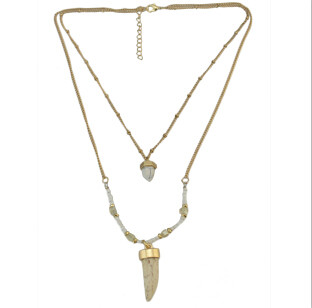 N-5877 New Fashion Gold Alloy Chain Beads Chain Natural Stone Pendant Necklace