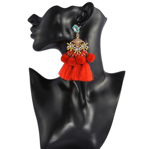 E-4258 3 Colors Fashion Bohemian  Thread Tassel Crystal Drop Earrings For Women Party Jewelry