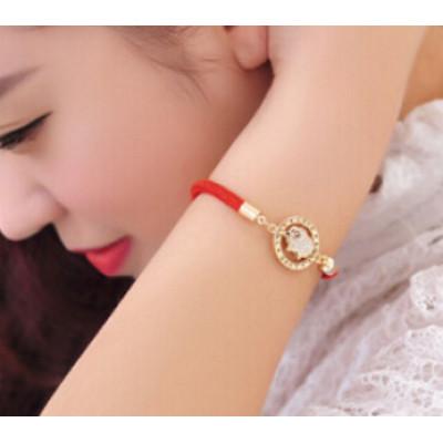 B-0428  Fashion style red rope chain bracelet LOVE pattern rhinestone lamp women bracelets for women jewelry
