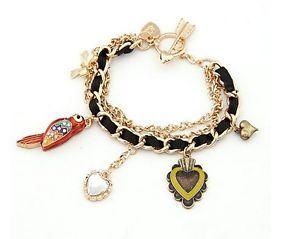 B-0106 New Gold Plated Silk Chain Multielement Knot Leiothrix Arrow Heart Bracelet