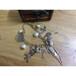 B-0087 New Copper Alloy Vintage Wing Heart Owl Swallow Teapot Beads Key Cross Bracelet