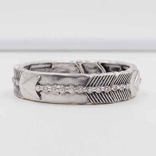 B-0558-S Retro Vintage Silver Plated Carved Arrow Women Boho Bangles Fashion Jewelry