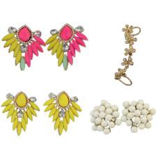 E-0684   E-3334  E-0515 Fashion Charming Fluorescence Color Resin Drop Leaf Rhinestone Ear Stud Earrings