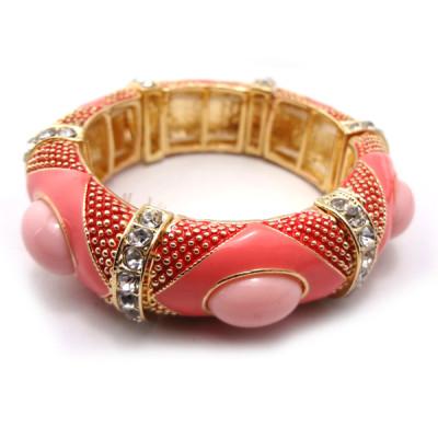 B-0242 New Fashion Gold Plated Enamel Rhinestone Charming Gem Cuff Bangle Adjustable