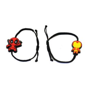 B-0515  European Fashion Style Famous Cartoon Characters Handmade Black Rope Adjustable Bracelet For Girls Boys Children Gift