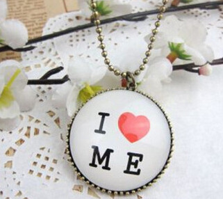 S-0060-N  Womens charm fashion  I Love Me  Round chain Pendant Necklace