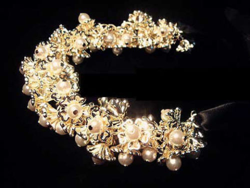 S-0022 Amazing White Pearl Gold Plated Flower Necklace Bracelet Jewelry Set
