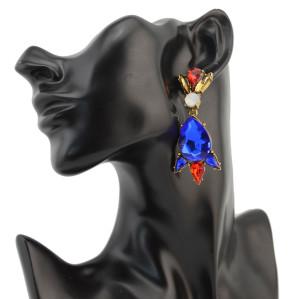 E-3240 European Golden Metal Big Drop Crystal Shourouk Flower Dangle Earrings