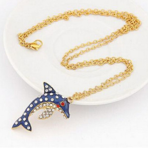 S-0065 New Coming Gold Plated Rhinestone Dark Blue Glazed Dolphin Necklace Earring Set