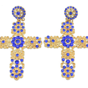 E-0264  E-0124 Blue rhinestone flower cross stud earring , black flower  earring