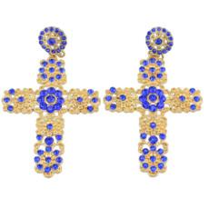 E-0264  E-0124 Blue rhinestone flower cross stud earring , black flower  earring