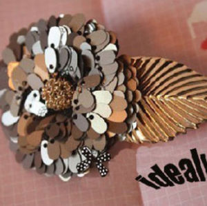 F-0021 Charming Gold Plated Leaf Grey Paillette Flower Hair Clip For Girls