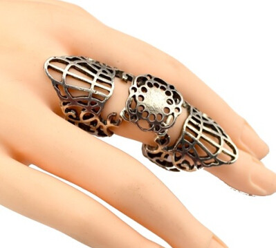 R-1112  European Punk Fashion Vintage Bronze/Silver Metal Hollow Out Flower Joint Ring