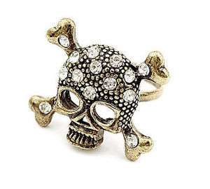 R-0010  Retro Bronze Rhinestone Crystal Bone Skeleton Skull Pirate Ring Size Adjustable