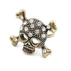 R-0010  Retro Bronze Rhinestone Crystal Bone Skeleton Skull Pirate Ring Size Adjustable